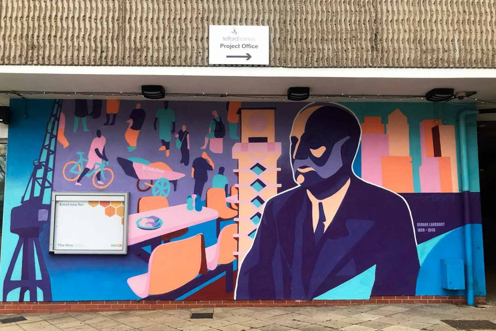 Painted on a brick wall,The George Lansbury Mural is blue, pink, blue and orange.