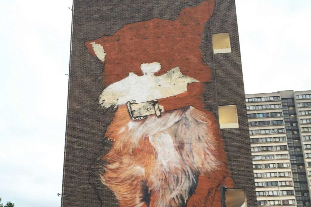 The infamous Poplar Chihuahua designed by street artists Irony and Boe, without its iconic bulging eyes and tongue.