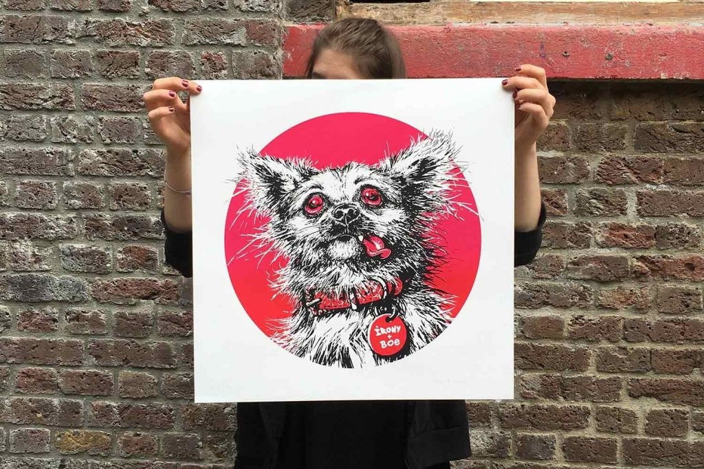 The original design of the Poplar Chihuahua was more 'mangled' as street artist Irony describes. The design is the head and shoulders of the chihuahua with red eyes and a red tongue hanging out. More drastic than the final design.