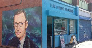 The Tommy Flowers Pub with the Tommy Flowers Mural round the corner