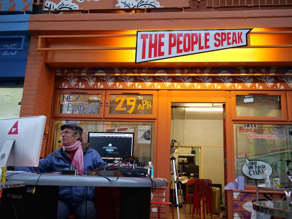 Aberfeldy Live is set up outside orange The People Speak space in Poplar