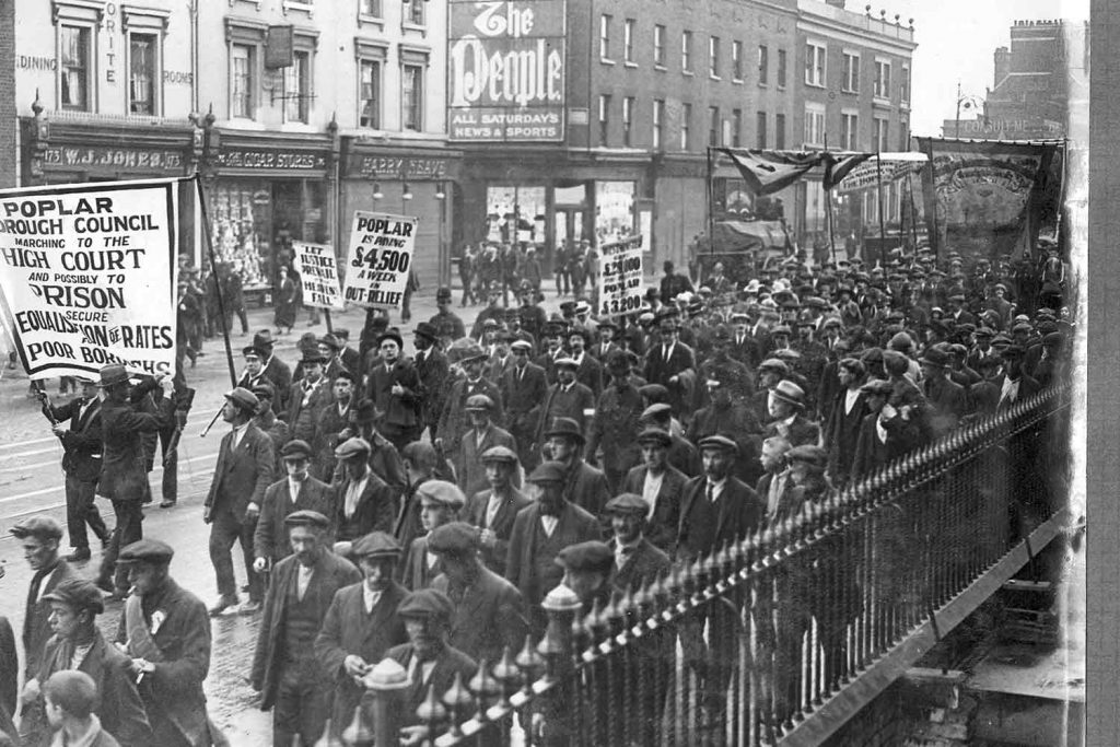 The Councillors march up East India Dock Road