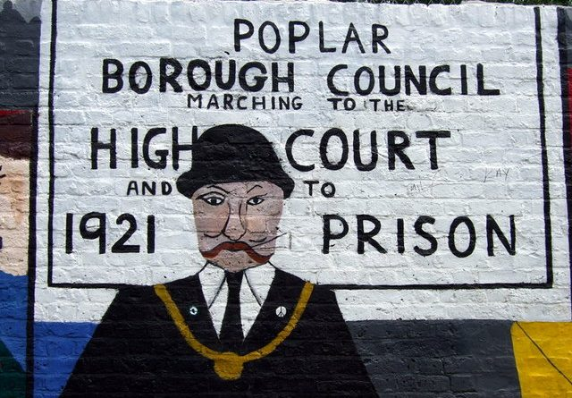 Painted mural of George Lansbury, the Labour councillor who led the Poplar Rates Rebellion.