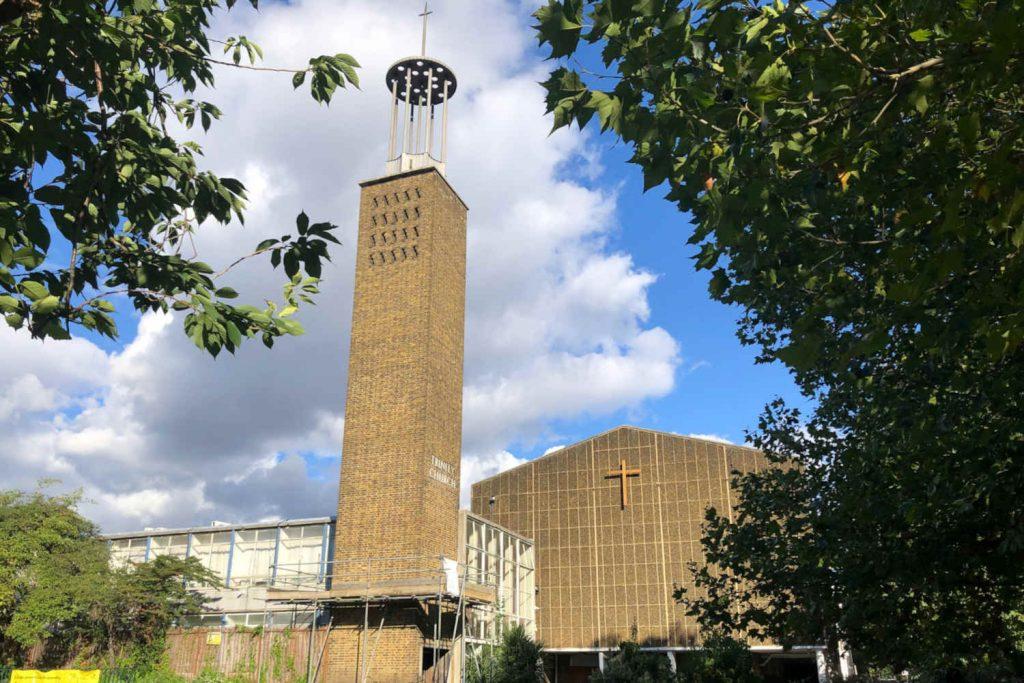 Trinity Chapel Poplar, a modernist brick church with a tall tower.